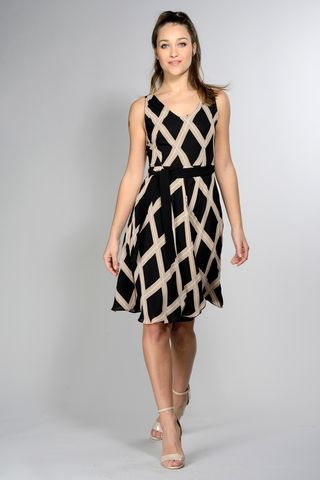 sleeveless black-beige dress geometrical pattern Angelico