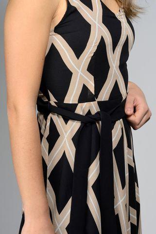 abito nero-beige giromanica fantasia geometrica Angelico