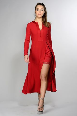 long red dress with petticoat Angelico
