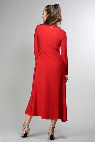 abito rosso v lungo con sottoveste Angelico