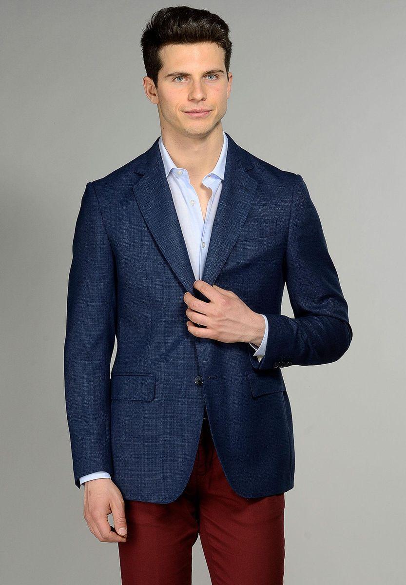 giacca blu cotone-lino 2 bottoni Angelico