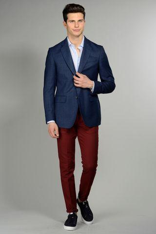 Giacca blu cotone-lino comoda Angelico
