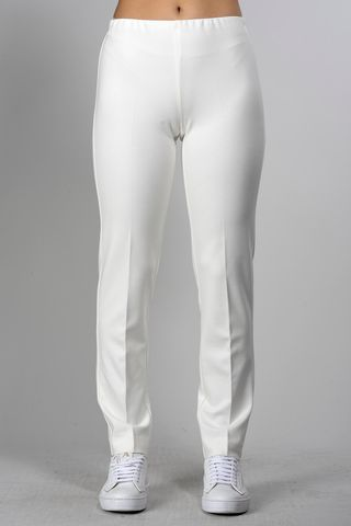 white jersey trousers elastic waist Angelico