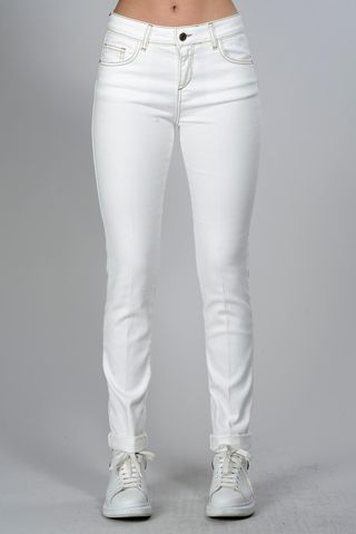 white jeans  with brown stitching Angelico