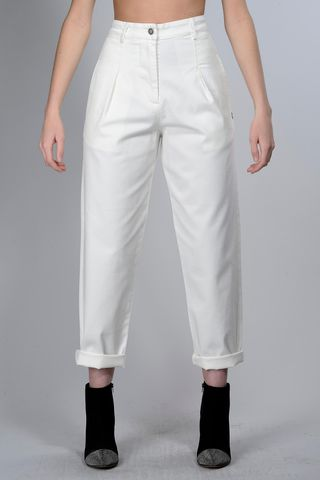 White wide jeans with pinces Angelico
