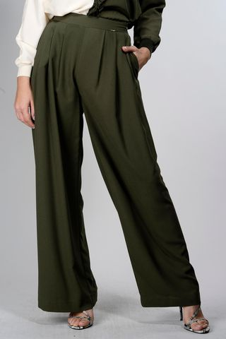 olive wide crepe pants pinces Angelico