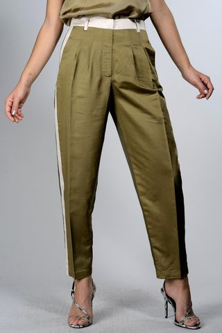 Olive wide pants pinces lateral insert Angelico