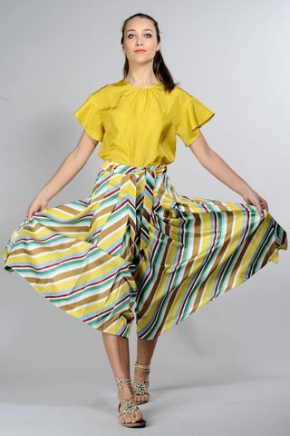 yellow patterned skirt-pants Angelico