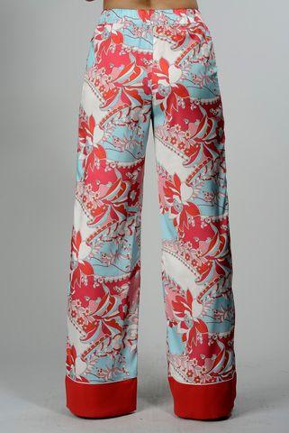 Pantalone rosso-turchese fiori morbido Angelico