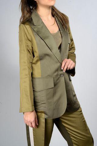 giacca oliva bicolore tasconi Angelico