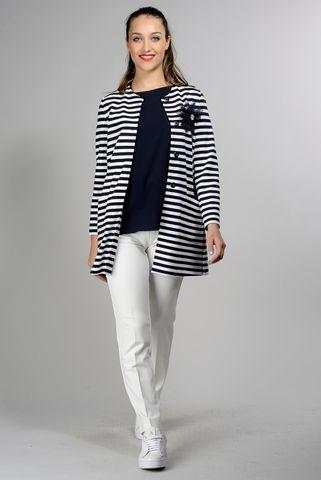 giacca lunga rigata blu bianca Angelico
