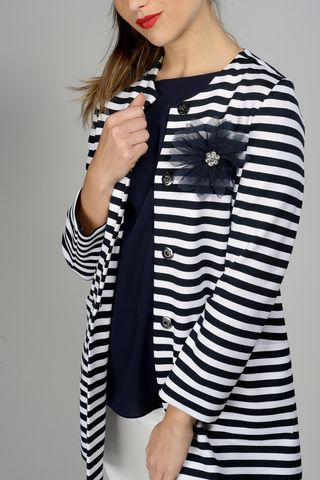 long blue white striped jacket Angelico