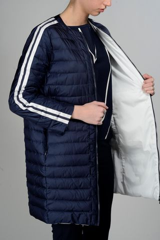 navy-white reversible long down jacket Angelico