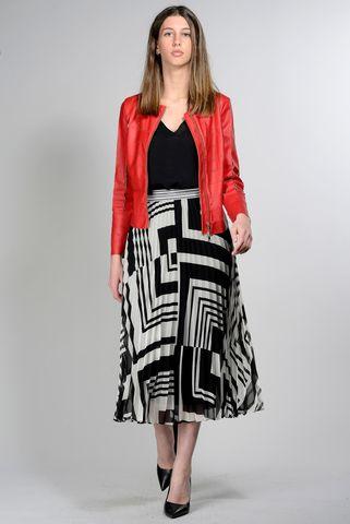 giacca rossa ecopelle con intarsi Angelico