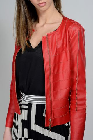 red faux-leather jacket with inlays Angelico