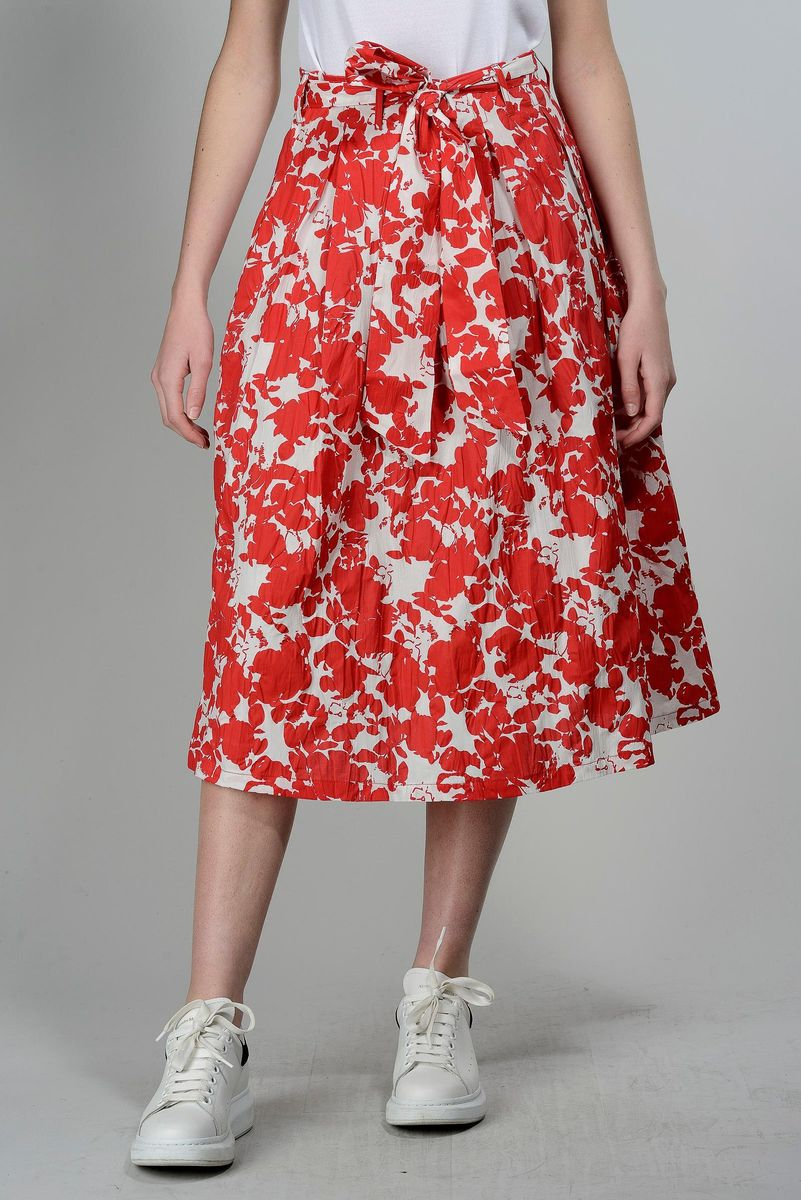 red floral pleated skirt Angelico
