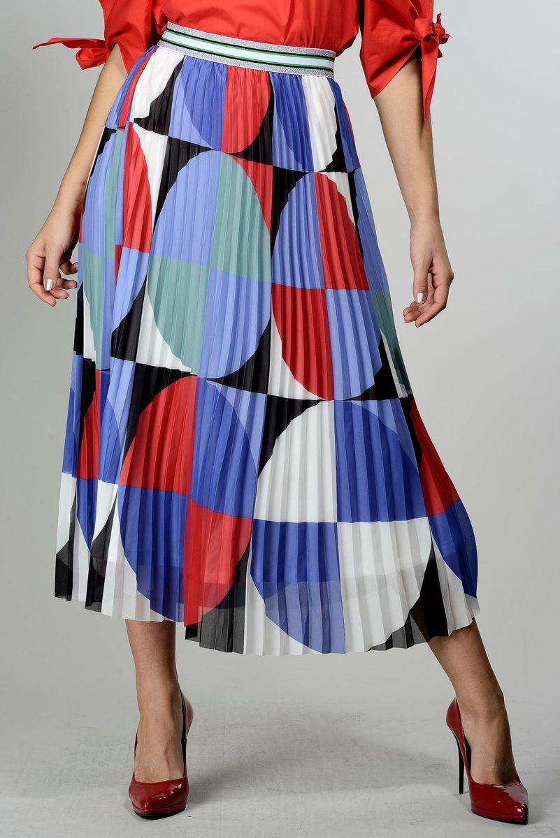 pleated blue-red long skirt Angelico