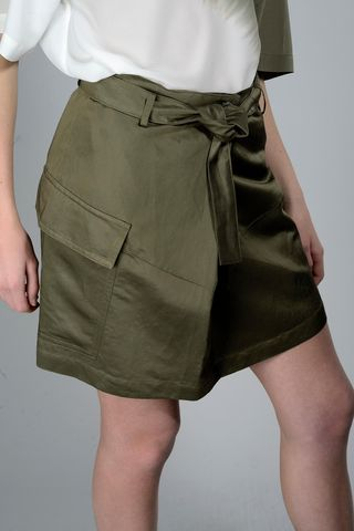 Olive mini skirt with pleat Angelico