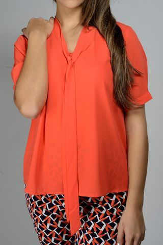 coral blouse with tie Angelico