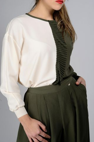 olive-cream blouse long sleeves ruffles Angelico