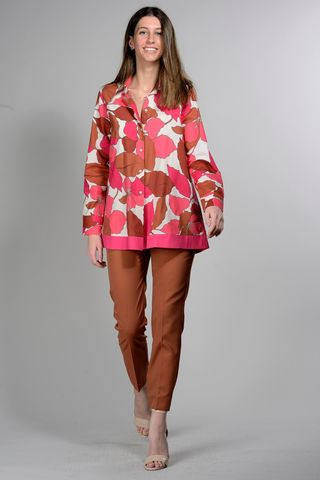 flowered pink-tobacco shirt Angelico