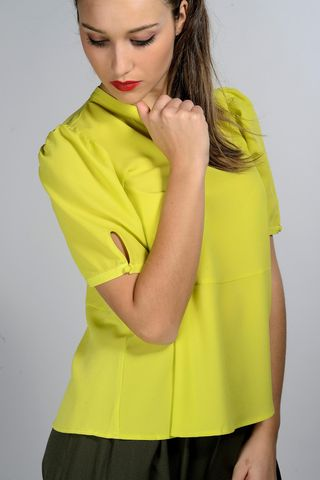 neon yellow blouse puffed sleeves Angelico