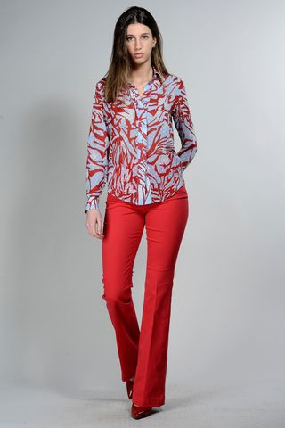 blue voile shirt with coral pattern Angelico