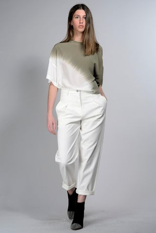 blusa oliva-panna seta sfumata Angelico