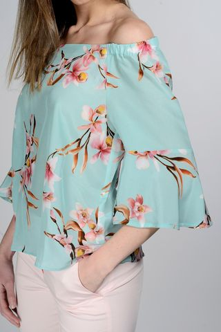 turquoise floral blouse bare shoulders Angelico