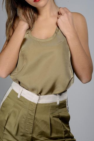 asymmetrical khaki tank top Angelico