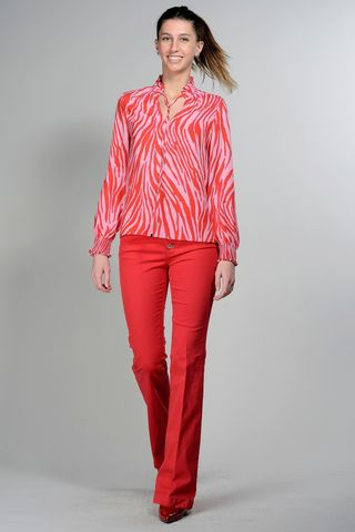 red coral patterned shirt with rouche Angelico