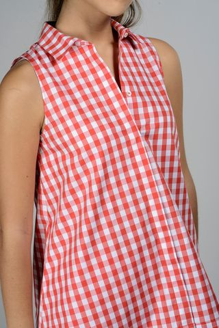 red maxi-shirt checkered sleeveless Angelico