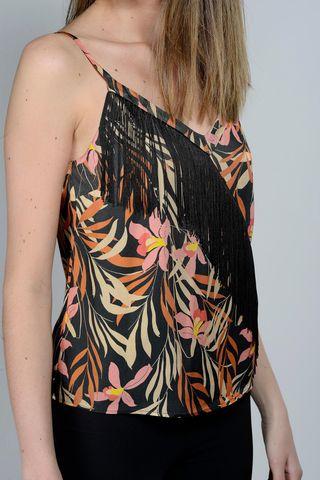black-orange flowered top and fringe Angelico