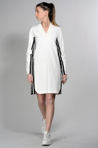 cream sweatshirt dress with black bands Angelico