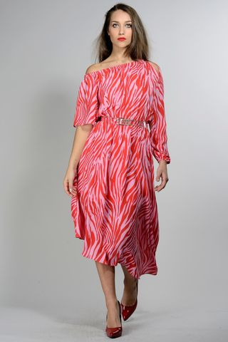 long red asymmetrical coral dress Angelico