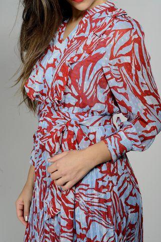 abito lungo azzurro coralli rossi plissettato Angelico