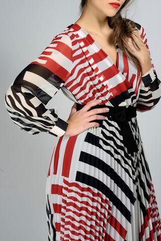 abito rosso-nero geometrico plissettato lungo Angelico