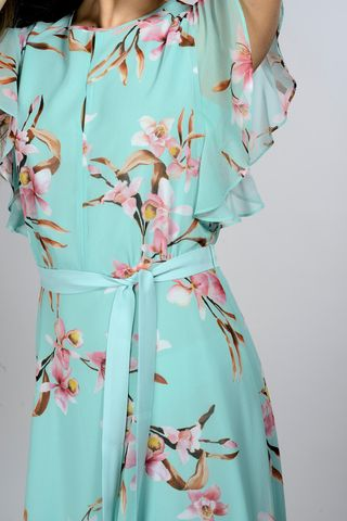 long turquoise-pink dress with flowers Angelico