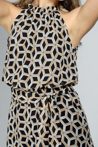 black-beige patterned jumpsuit Angelico