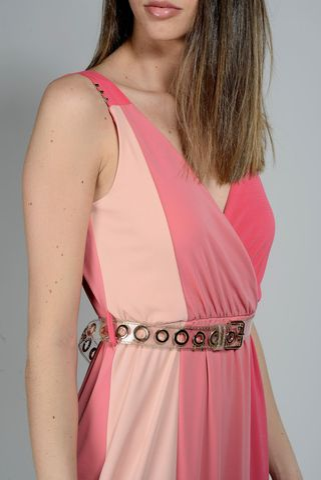 abito corallo-rosa lungo spallina Angelico