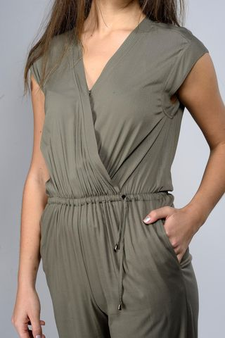 olive crossed jumpsuit sleeveless Angelico