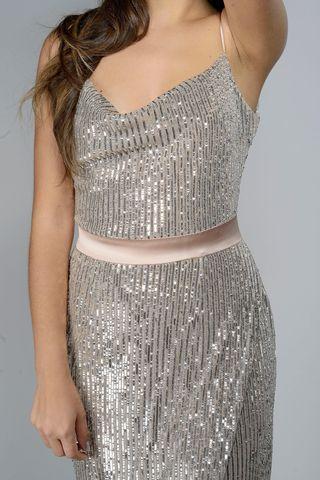 abito paillettes argento spallina Angelico
