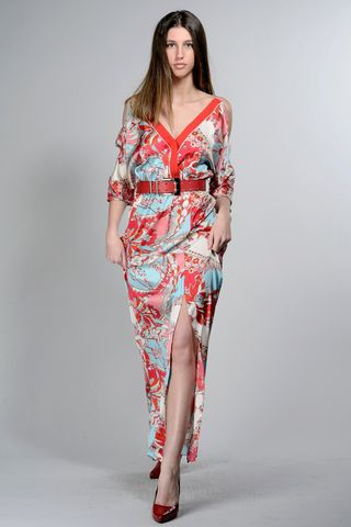 long v red-turquoise dress with flowers Angelico