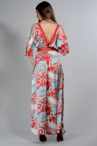 abito lungo turchese-rosso fiorato Angelico