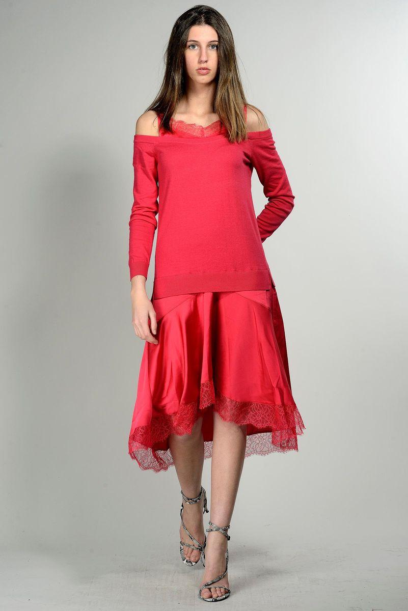 abito rosso a sottoveste corpetto maglia Angelico