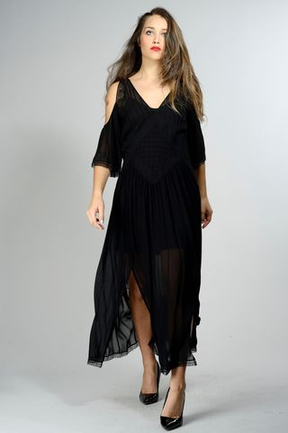 long black dress with lace insert Angelico