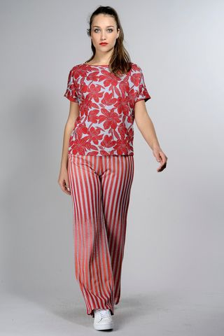 red-silver blouse flowers-stripes Angelico
