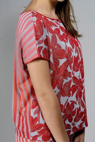 blusa rossa-argento fiori-righe Angelico