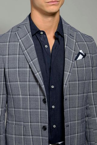 light blue checkered jacket 2buttons slim Angelico