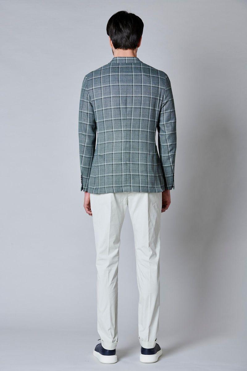 giacca verde quadri cotone-lino slim Angelico